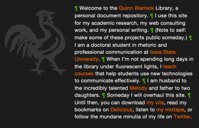 Quinn Warnick's Personal Site, 2008
