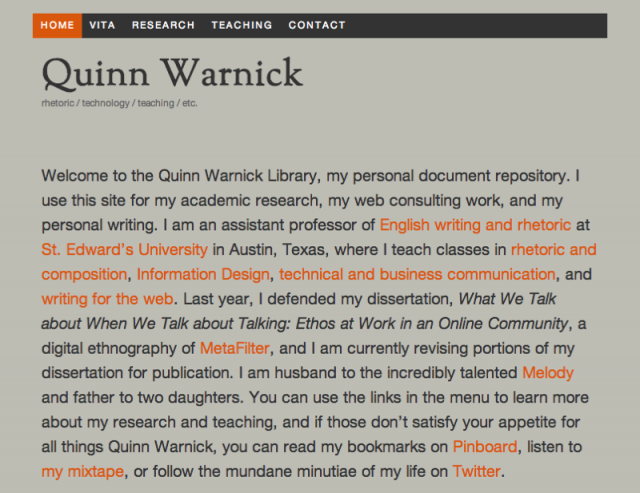 Quinn Warnick's Personal Site, 2010