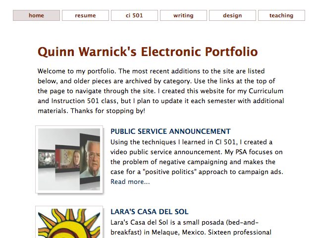 Quinn Warnick's Personal Site, 2007