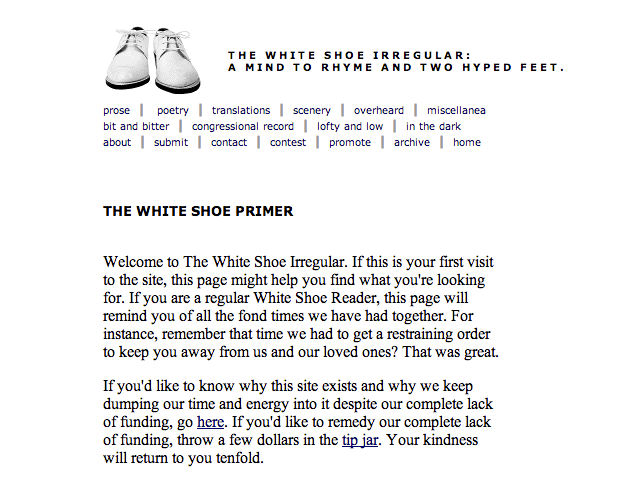 The White Shoe Irregular, version 1